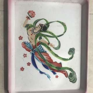 Vintage Enamel Tray fm Cultural Revolution China