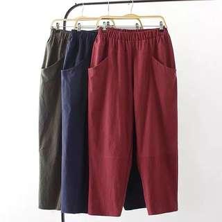 (2XL~4XL) Spring and autumn trousers wide leg pants women loose cotton linen Harem pants casual radish pants
