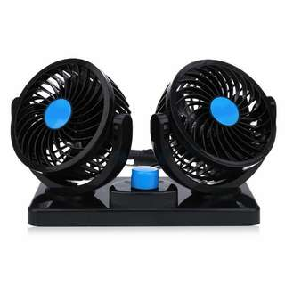 Kipas Mobil Dual Head 360 Degree Mini Electric Car Fan - Black