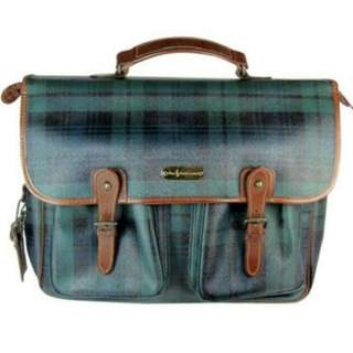 authentic Polo Ralph Lauren Vintage Tartan print Plaid sling messenger laptop bag