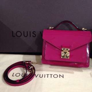 Louis Vuitton monceau BB fuchsia in patent calf leather