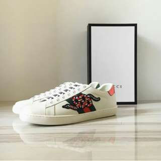 GUCCI SNAKE ACE EMBROIDERED SNEAKERD