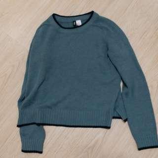 h&m 墨綠色針織上衣 綠色針織上衣