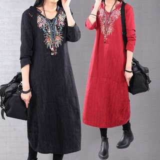(M~2XL) 2018 Cotton and linen dress loose large size floral national wind thin robes embroidery