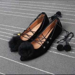 Black Fur Ladies Shoes