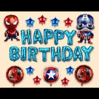 🦄 Happy Birthday Party Decor Balloon Sets - Captain America / Spiderman