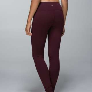 Lululemon Wunder Under | Burgundy Reversible Tights (Size 4)