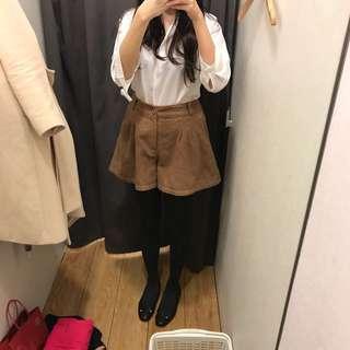 日本專櫃natural couture焦糖色羊毛短褲裙 coco deal ungrid