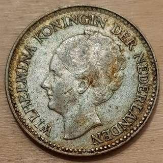 1929 Netherlands Half Gulden Silver Coin
