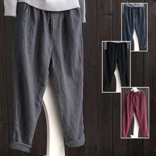 (S~5XL) Cotton trousers pants spring and summer loose linen thin section casual radish pants