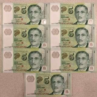 Singapore UNC $5 Notes