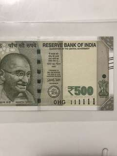 0 prefix Solid no 111111 new indian 500 note Unc