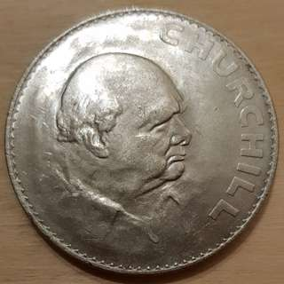 1965 Great Britain Queen Elizabeth Sir Winston Churchill Commemorative Crown Coin