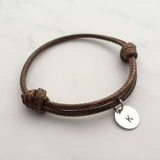 BL046D- Brown Bracelet 1 Alphabet Initial Disc Minimalist Customised Adjustable Bracelet - Made To Order