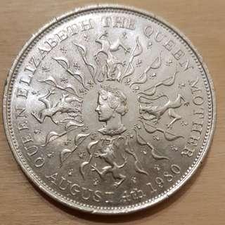 1980 Great Britain Queen Elizabeth II Queen Mother 80th Birthday Commemorative Crown Coin