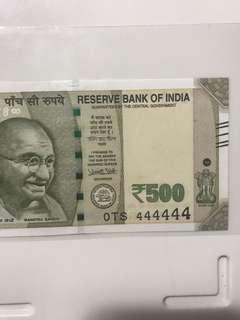 0 prefix Solid no 444444 new indian 500 note Unc