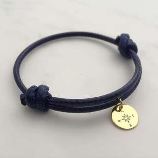 BL046B- Blue Bracelet Compass Disc Personalised Minimalist Customised Adjustable Bracelet - Made To Order