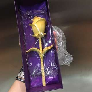 24k Golden Rose With Acrylic Stand