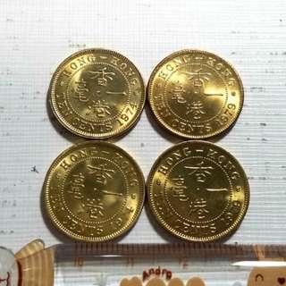 爆炸炫光1 香港1974 1979一毫硬幣4枚 全新未用 罕有 便宜出A