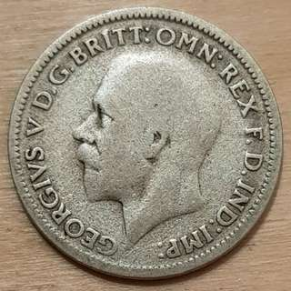 1932 Great Britain King George V 6 Pence Silver Coin