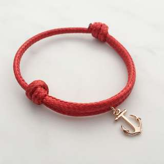 BL046A- Red Braclet Anchor Charm Personalised Minimalist Customised Adjustable Bracelet - Made To Order