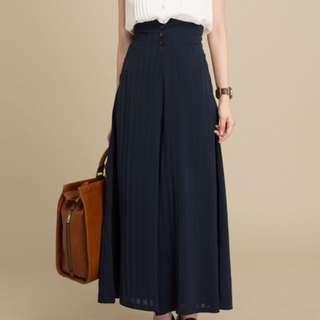 條紋 闊褲 寶藍色