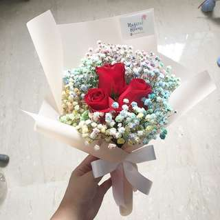 Fresh Flower Bouquet in Roses with Pastel Rainbow Baby Breath