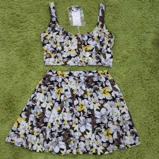 日牌專櫃emsexcite兩件式印花背心短裙