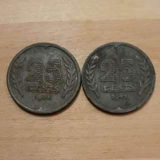 1941 German Occupation Netherlands 25 Cents Coins