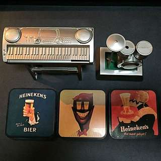 Set of Heineken Musical Lighters and Vintage Coasters