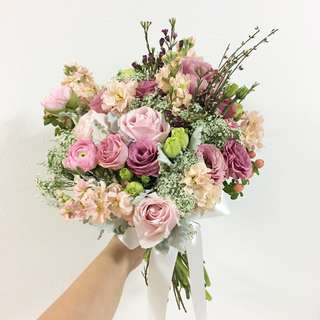Bridal Bouquet in Pink Eustomas , Pink Rannunculus and Mix Fillers / Wedding Flower Package for Brides and Groom