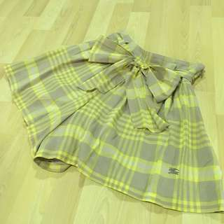 Burberry Blue Label yellow checkered skort