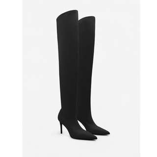 MNG Black Over The Knee Thigh High Black Boots Heels 38 7 5 Mango Stiletto