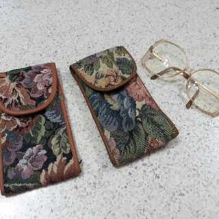 vintage tapestry spectacles glasses case