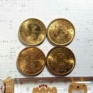 爆炸炫光2 香港1971 1975一毫硬幣4枚 全新未用 罕有 便宜出B