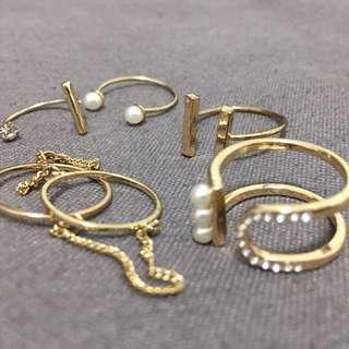 金色珍珠水鑽個性戒指 5個一組