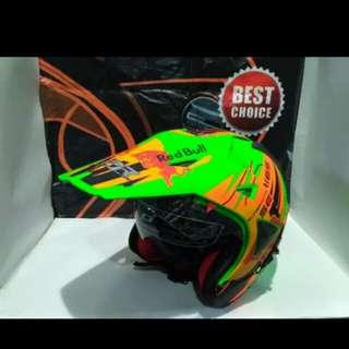 Helmet redbull semicross #5 green orange