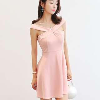 🔥 [INSTOCK] Korean Ulzzang Halter Chic Pink Sleeveless Dress Elegant Dress