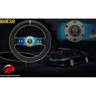 STEERING SPORT SPARCO SAFARI BLUE 12.5' NEW MODEL YELLOW LINE WHITE STICHING 2 SPOKE 12.5