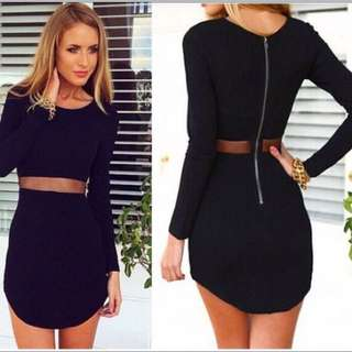 Black Mesh Dress With Zipper