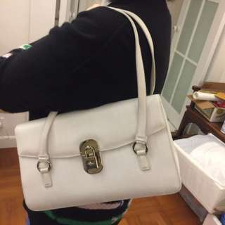 ferragamo white leather bag