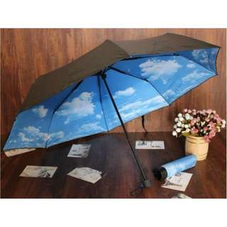 BNIB Blue Sky White Clouds Foldable Umbrella
