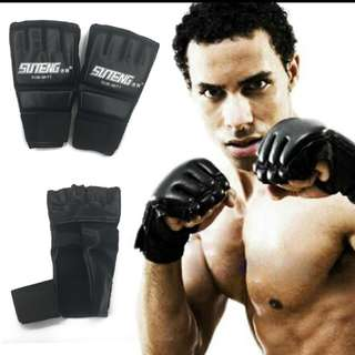 MMA Muay Thai Training Punching Sparring Boxing Half Mitts Mitten Gloves martial arts