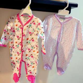 Mothercare Sleepsuit Baby Romper 0 - 3 Months Boy Girl 100% Cotton 2pcs