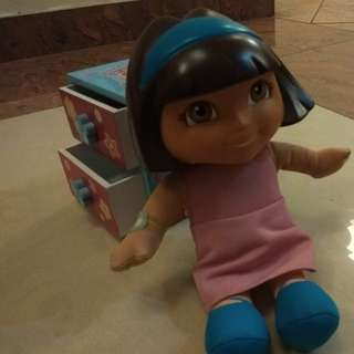 Dora talking doll and dora jewellery box