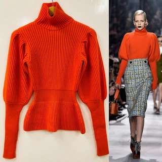 Christian Dior orange red knitted tall neck sweater top size 36