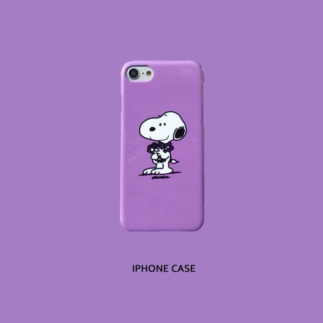 預購 史努比熱門粉嫩紫色iPhone 6/7/8/x 殼
