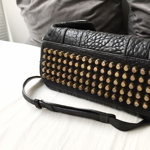 Alexander Wang Rocco In Black Pebble With Antique Brass