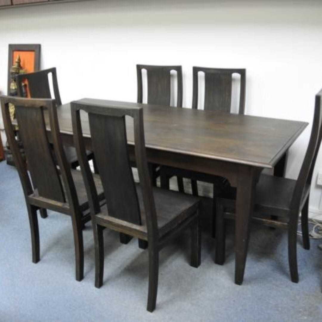 Authentic Burma Teak Wood Dining Table Set 6 Chairs Furniture Tables Chairs On Carousell