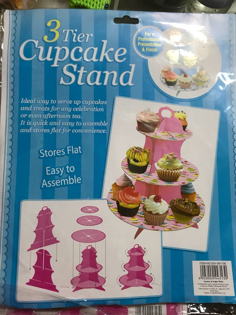 Birthday banners and cupcake stand